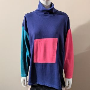 Turtleneck Color Block Sweater